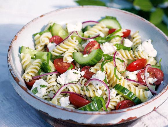 Greek salad with fusilli