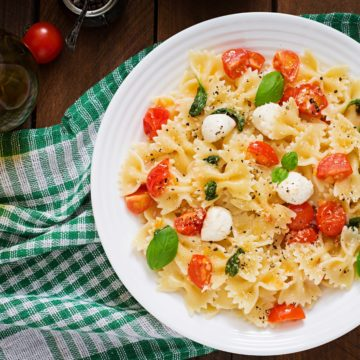 caprese with farfalle