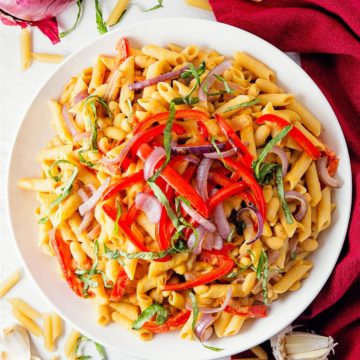 penne with humus